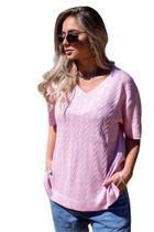 Blusa Tricot Manuela Feminina Shopping do Tricô T-Shirt Gola V -