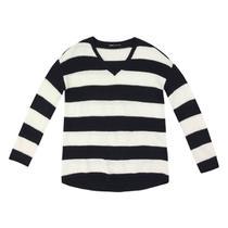 Blusão Tricô Hering Fio Tinto Listrado Alongado Feminino -