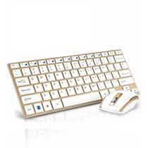 Bm-3910 Teclado Mouse Sem Fio Wifi 2.4 Ghz Branco com Dourado - Hk