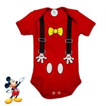 Body Bebê Personagem Mickey Suspensório Mãozinha - Alegria Baby & Kids