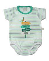 Body Bebê Suedine Listrado Playfull Miami Beach - Verde - Ano Zero