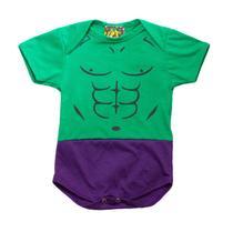 Body Fantasia 100% Algodão Hulk - Bebê