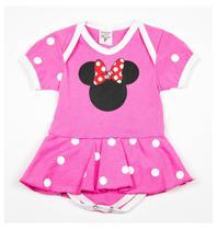 Body Fantasia 100 Algodão Minnie Mouse Rosa - Bebê