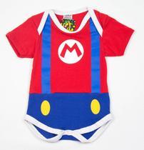 Body Fantasia 100 Algodão Super Mario - Bebê