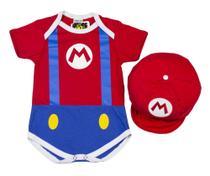 Body Fantasia Acessório 100% Algodão Super Mario - Bebê