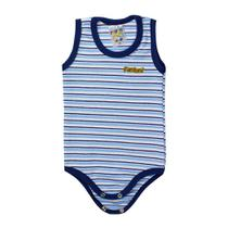 Body Infantil Bebê Listrado Azul - Fantoni -