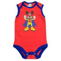 Body Regata em Suedine - Vermelho e Azul - Be Mickey - Disney -