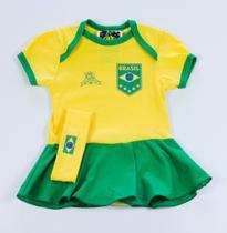 Body Saia Time 100% Algodão Seleção Brasileira - Bebê