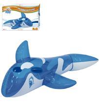 Boia Inflável Baleia Translucida Azul com Alça 80cm - Wellmix