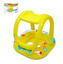 Boia Inflável com Assento e Cobertura para Bebês 66 x 66 cm - Amarelo Summer Fun - Wellmix