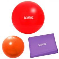 Bola 45cm Vermelha + Overball 25 Cm + Faixa Elastica Media  Liveup -