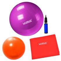Bola 55cm Roxa + Overball 25 Cm + Faixa Elastica Leve + Bomba  Liveup -