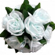 Bola buchinho artificial rosas com folhas 18cm - azul claro - H8 Decor