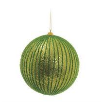Bola com Listras Verde Claro 15 cm (Bolas)  - 1 Unidade - Natal