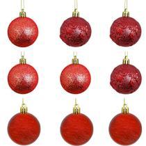 Bola de natal arabescos rena vermelha com 9 pecas 6cm de ø - Hauskraft
