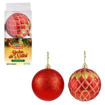 Bola de Natal Diamante 10cm 2 Peças Vermelha Art Christmas -