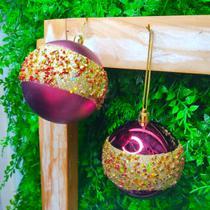 Bola de Natal Marsala Faixa Dourada Brilho e Fosca 8cm Kit com 6 unidades - Daluel