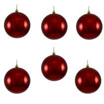 Bola de Natal Plástica Metálica 50mm Vermelha com 6 Unidades - Só Natal - So Natal