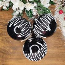 Bola de Natal Preta com Branco 8cm Kit 3 Bolas - Daluel