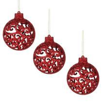 Bola de Natal Vazada Vermelha Glitter 8cm Enfeite Árvore - Riom