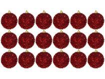 Bola de Natal Vermelha com Glitter NATAL044M - Casambiente 6cm 18 Unidades