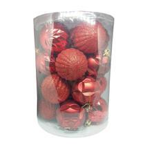Bola de Natal Vermelha Mista 5cm - 20 Unidades - Extra Festas