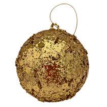 Bola Decorada Dourada 100mm Ref:HZ36-11092012G unid. - Natal Brasil
