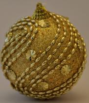 Bola Decorada Dourada Ref:HZ38-8/103G  unid. - Natal Brasil
