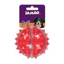 Bola Dura para Cachorro com Espinho Vermelha Jambo Pet Média -