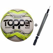 Bola Futebol Society Topper Slick Original Mais Inflador -