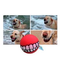 bola mordedor pet cachorro cães sorriso interativo vermelha - 123Útil