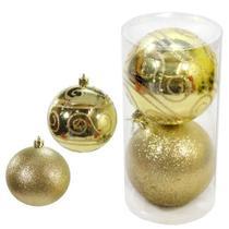Bola natal 100mm tubo decorada dourado com 2 bolas - c.o -