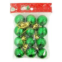 Bola natal 30mm metalizada verde com 12 bolas centro oes - C.O