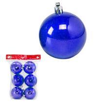 Bola natal 40mm metalizado azul com 6 bolas - c.o -