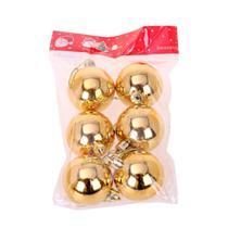 Bola natal 50mm metalizada dourado com 6 bolas - centro oeste - C.O