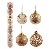 Bola natal 60mm metalizada textura folha com flores champagne com 9 bolas - rio master - - Rm Natal