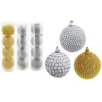 Bola natal 70mm  prata e dourado luxo com  4 peças - centro oeste - C.O