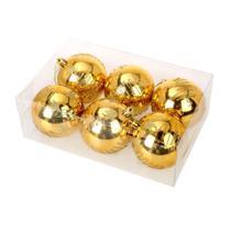 Bola natal 80mm metalizada dourada decorada com glitter - centro oeste - C.O