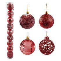 Bola natal 80mm metalizada textura arabescos rena vinho com 9 bolas - rio master - Rm Natal