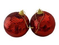 Bola Natal Decorada com lantejoulas vermelha 8cm. Ref:86R 2 unids. - Natal Brasil