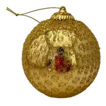 Bola Natal Decorada Dourada  10 cm.Ref:2020g Unid. - Natal Brasil