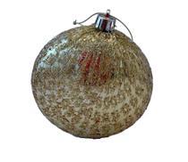 Bola Natal decorada Dourada 8cm Ref:2022g unid. - Natal Brasil