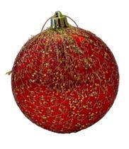 Bola natal Decorada redonda achatada Vermelha/dourado 8cm Ref:2023R unid. - Natal Brasil