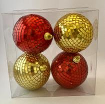 Bola Natal Decorada vermelha/dourada 8cm. Ref:1041G-R 4 unids. - Natal Brasil