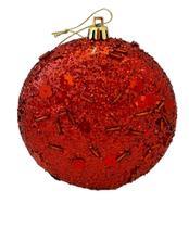 Bola Natal vermelha redonda achatada 10cm Ref:2013R unid. - Natal Brasil