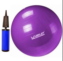 Bola pilates suiça s - 55cm - roxa com bomba de inflar liveup -