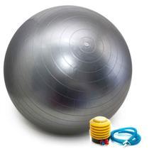 Bola Pilates Yoga Abdominal Ginástica Fitness 65 cm C/ Bomba PRATA - Astromix