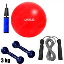 Bola Suica 45cm com Mini Bomba + Corda de Pular + 2 Halteres 3 Kg Emborrachado  Liveup -