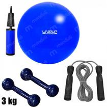 Bola Suica 65 Cm com Mini Bomba + Corda de Pular + 2 Halteres 3 Kg Emborrachado  Liveup -