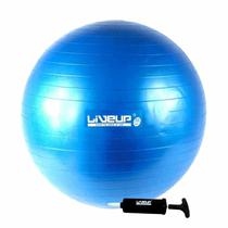 Bola Suiça 65Cm Azul Anti Estouro + Mini Inflador Pilates Yoga Treino Exercício Academia Liveup -